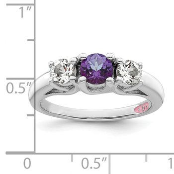 10k White Gold Survivor Clear & Purple Swarovski Topaz Pamela Ring