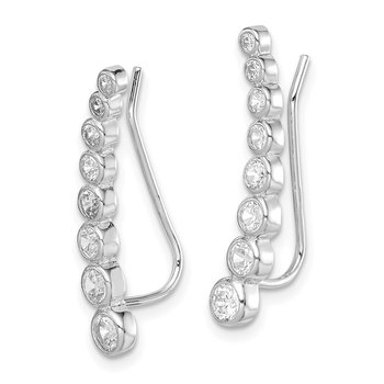 Sterling Silver Rhodium-plated White CZ Oval Cut Post Earrings