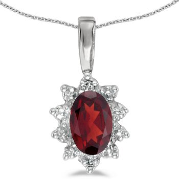 10k White Gold Oval Garnet And Diamond Pendant