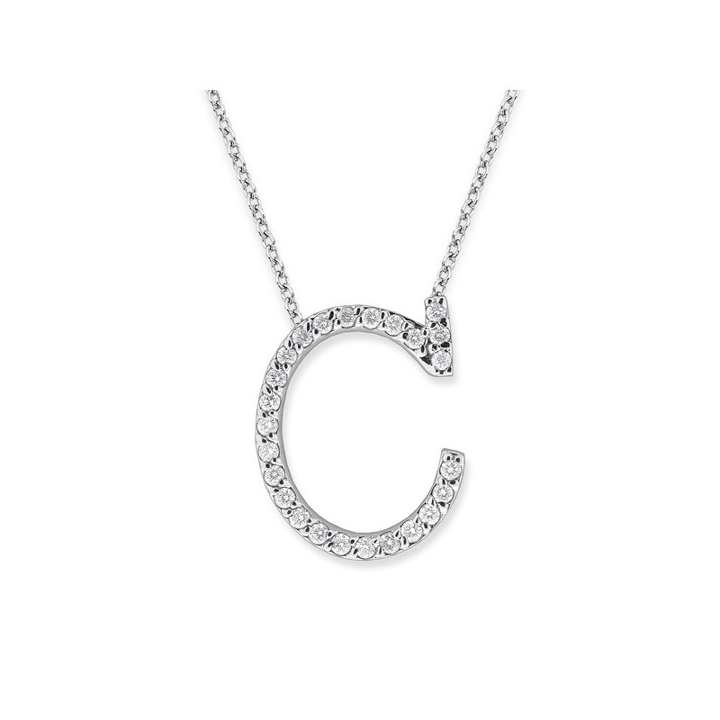 "KC Designs Diamond All Star Initial ""C"" Necklace in 14K White Gold with 25 diamonds weighing .25ct tw."