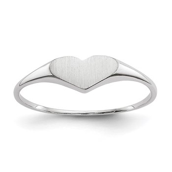 14k White Gold Heart Ring 8mmx4mm Open Back