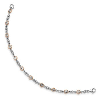 Cheryl M 7.25in Sterling Silver Rose Gold-Plated CZ Station Bracelet
