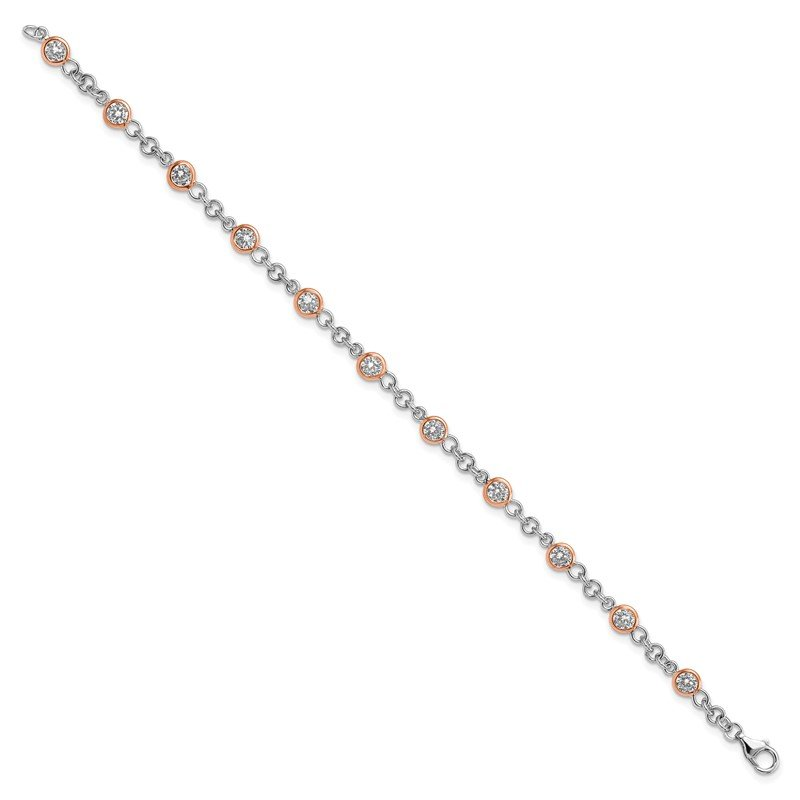 JC Sipe Essentials Cheryl M 7.25in Sterling Silver Rose Gold-Plated CZ Station Bracelet