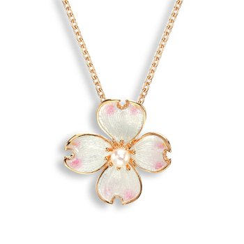 White Dogwood Necklace.Rose Gold Plated Sterling Silver-Akoya Pearl