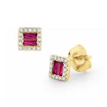 Ruby & Diamond Stud Earrings Set in 14 Kt. Gold