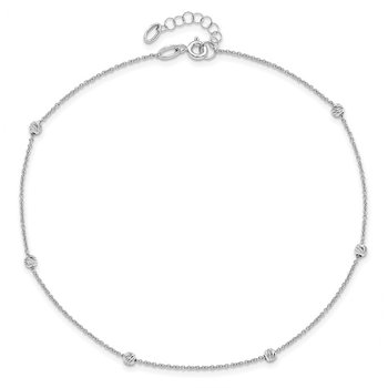 Leslie's 14k White Gold Diamond-cut Beaded with 1in ext. Anklet