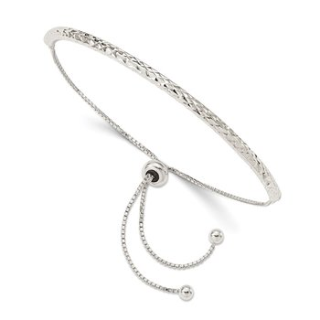 Sterling Silver Diamond Cut Adjustable Bracelet