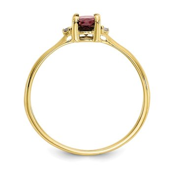10k Polished Geniune Diamond & Garnet Birthstone Ring