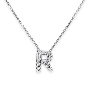 Diamond Bitty Block Initial R Necklace