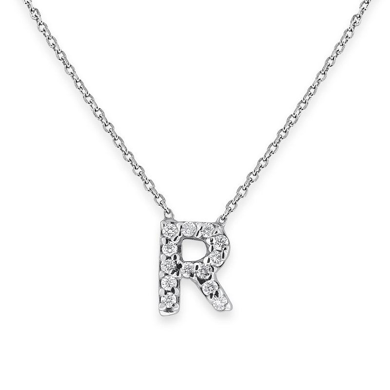 KC Designs Diamond Bitty Block Initial R Necklace