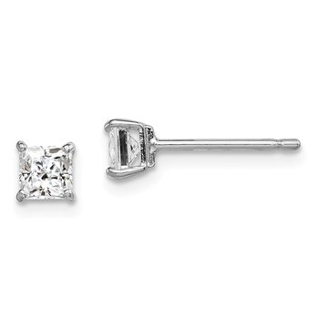 Sterling Silver Rhodium-plated Madi K 4mm Square CZ Stud Earrings