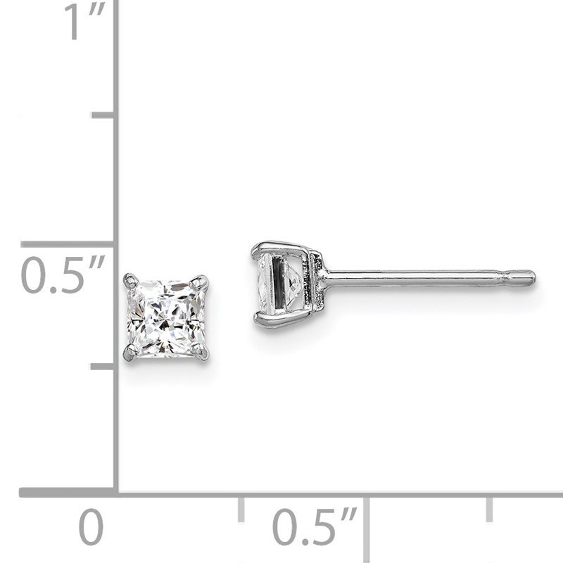 Quality Gold Sterling Silver Rhodium-plated Madi K 4mm Square CZ Stud Earrings