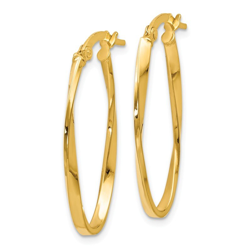 Leslie's Leslie's 14K Twisted Oval Hoop Earrings