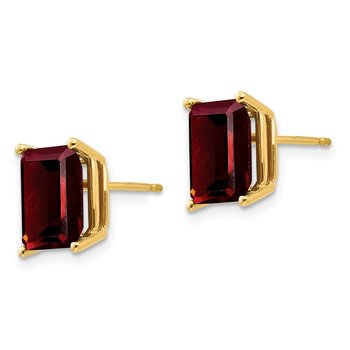 14k 9x7mm Emerald Cut Garnet Earrings