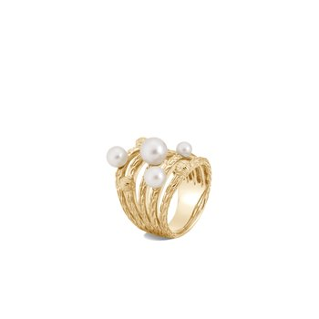 Classic Chain Ring in 18K Gold with Pearl