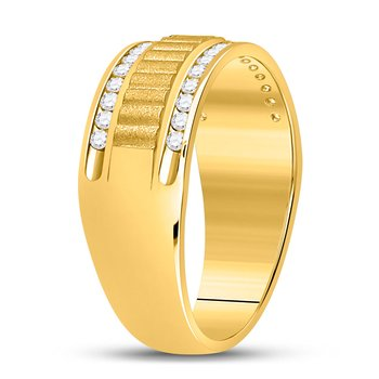 14kt Yellow Gold Mens Round Diamond Double Row Matte Textured Wedding Band Ring 1/3 Cttw