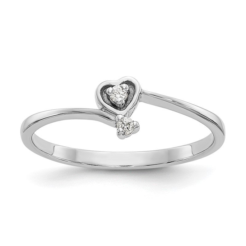 Quality Gold 14k White Gold A Diamond heart ring