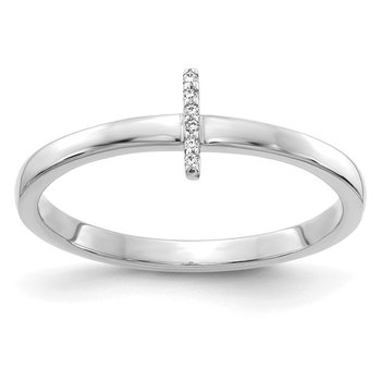 14k White Gold Diamond Initial I Ring