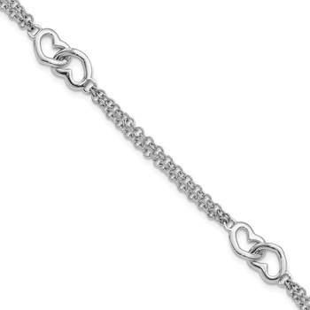 Sterling Silver Rhodium-plated Hearts Double Chain Bracelet
