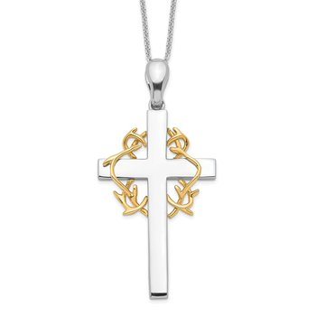 Sterling Silver & Gold-plated No Greater Love Cross 18in Necklace