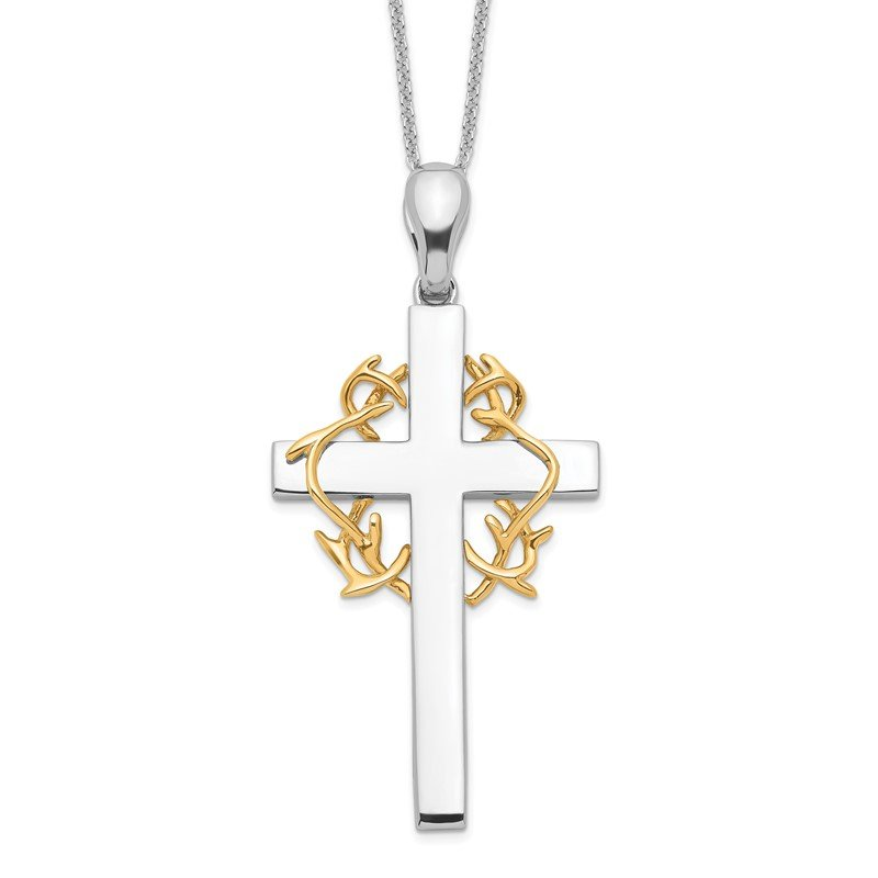 Quality Gold Sterling Silver & Gold-plated No Greater Love Cross 18in Necklace