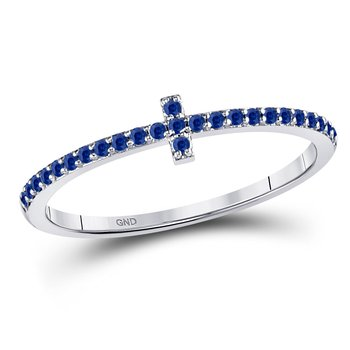 10kt White Gold Womens Round Blue Sapphire Cross Stackable Band Ring 1/6 Cttw