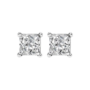 Princess Cut Diamond Studs in 14K White Gold (3/5 ct. tw.) SI2 - G/H