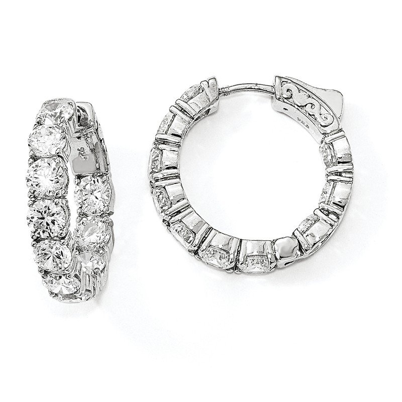 Arizona Diamond Center Collection Sterling Silver Rhodium-plated CZ In & Out Round Hoop Earrings