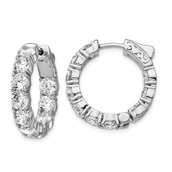 Sterling Silver Rhodium-plated CZ In & Out Round Hinged Hoop Earrings