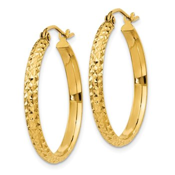 14K Diamond-cut 2.8x25mm Hollow Hoop Earrings