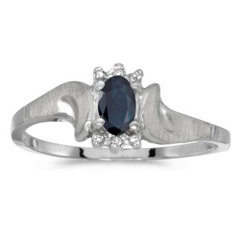 14k White Gold Oval Sapphire And Diamond Satin Finish Ring