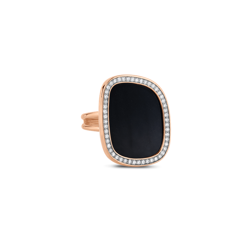 Roberto Coin 18KT GOLD RING WITH DIAMONDS AND BLACK JADE