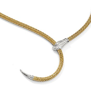 Leslie's Sterling Silver Gold-plated Adjustable Snake Necklace