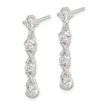 Sterling Silver Polished CZ Post Dangle Earrings