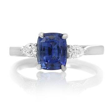 Platinum Sapphire & Diamond Side Stone Ring