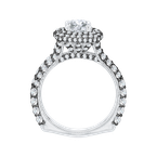 18K White Gold with Black Rhodium Tips Round Diamond Double Halo Engagement Ring (Semi-Mount)