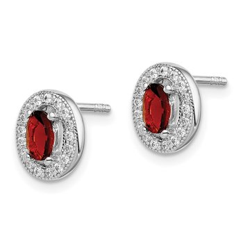 Sterling Silver Rhod Polished January Red and White CZ Oval Earrings