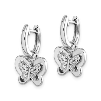 14k White Gold Diamond Hoop Butterfly Earrings