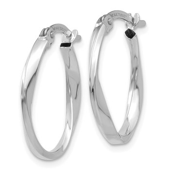 14K White Gold Polished Oval Twist Hoop Earrings