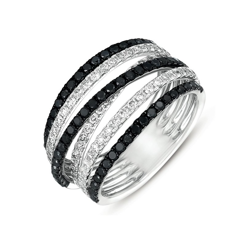 S. Kashi  & Sons White Gold Black & White Fashion Ring