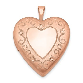 Sterling Silver Rose Gold-plated 20mm D/C Heart Locket