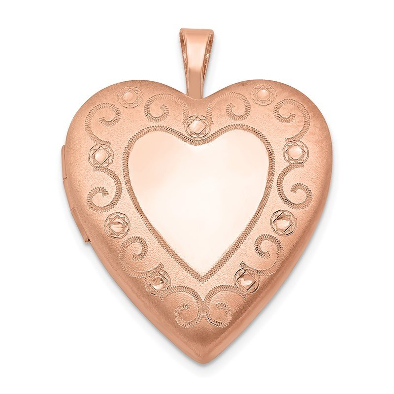 Quality Gold Sterling Silver Rose Gold-plated 20mm D/C Heart Locket