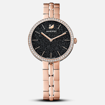 Cosmopolitan Watch, Metal bracelet, Black, Rose-gold tone PVD