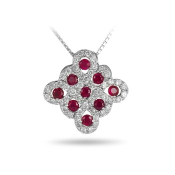 14K WG Diamond and Ruby Slider Pendant
