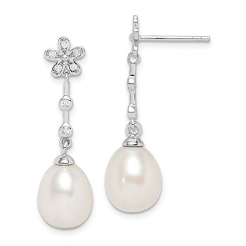Sterling Silver Rhodium-plated 8-9mm White Rice FWC Pearl CZ Earrings