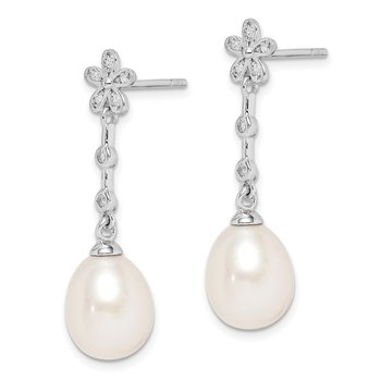 Sterling Silver Rhod-plat 8-9mm White Rice FWC Pearl CZ Earrings
