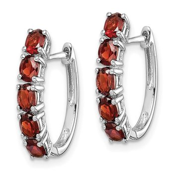 Sterling Silver Rhodium-plated Polished Garnet Hinged Hoop Earrings
