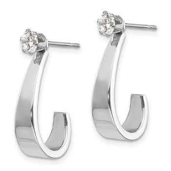14k White Gold J Hoop w/CZ Earring Jackets