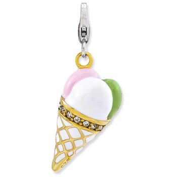 Sterling Silver Enameled 3-D Gold Plated Ice Cream Cone w/Lobster Clasp Cha