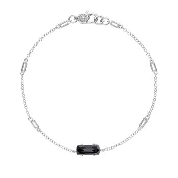 Solitaire Emerald Cut Gem Bracelet with Black Onyx